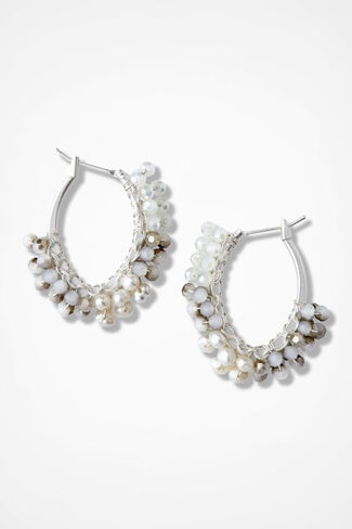 Stone-Accent Teardrop Earrings, Silver, large