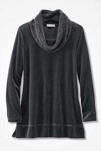 Velour du Jour Sparkle Cowl Tunic, Charcoal, large