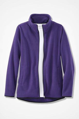 Microfleece Zip-Front Jacket, Dark Purple, large