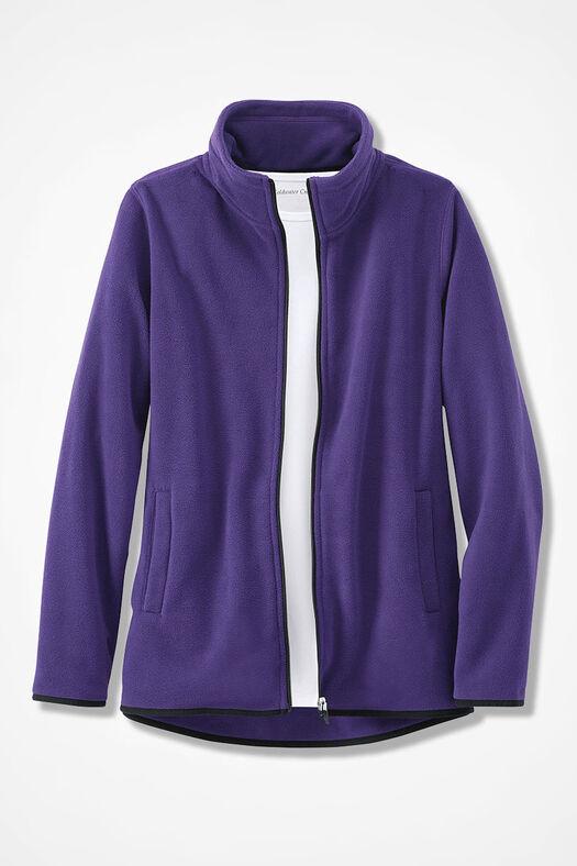 Microfleece Zip-Front Jacket, Dark Purple, large