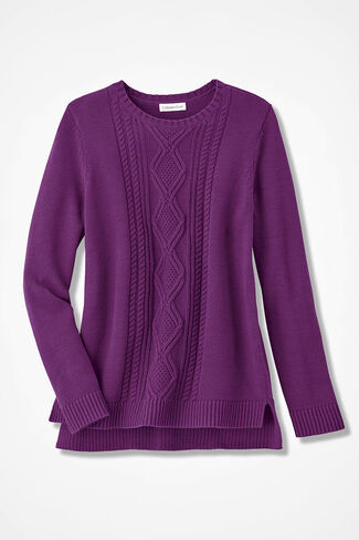 Wintertide Cabled Sweater, Currant, large