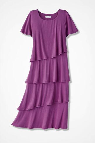 Cascading Tiers Knit Dress, Peony, large