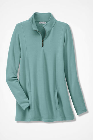 Superbly Soft Fleece Zip-Neck Pullover, Aqua, large