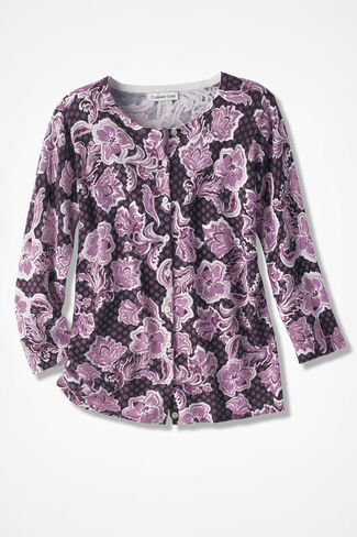 Floral Filigree Printed Cardigan, Boysenberry, large