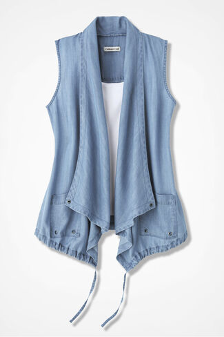 Go-with-the-Flow Tencel® Vest, Light Indigo, large
