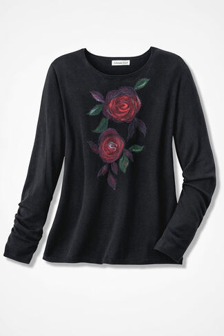 Rose Portrait Sweater, Black, large