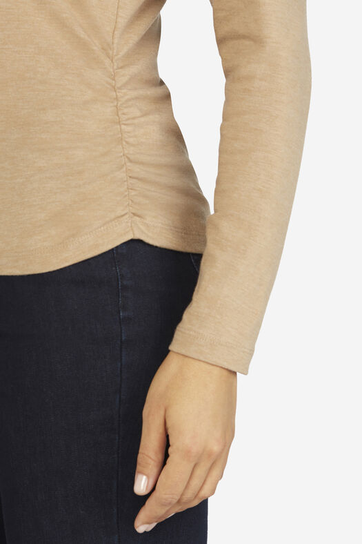 PrimaKnit® Turtleneck, Light Camel Heather, large