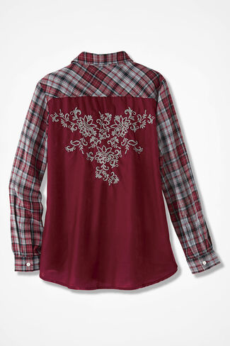 Embroidered Velvet Plaid Shirt, Garnet Multi, large