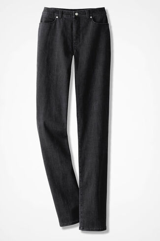 The Creek® ShapeMe® Relaxed Straight-Leg Jeans, Black, large