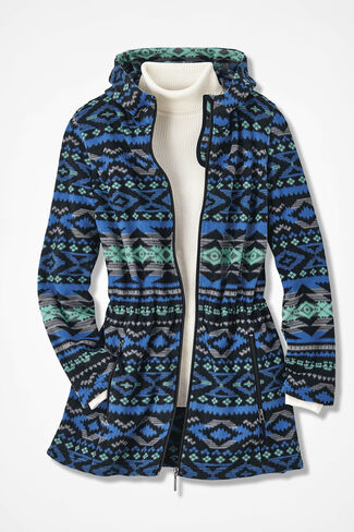 Yuma Print Great Outdoors Fleece Anorak, Cobalt Multi, large