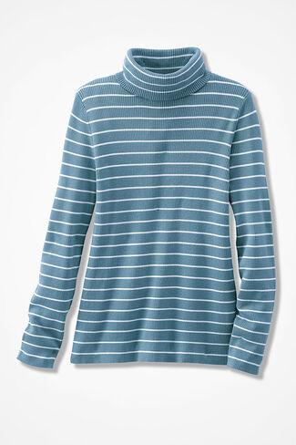 Striped Ribbed Turtleneck Sweater, Lagoon, large