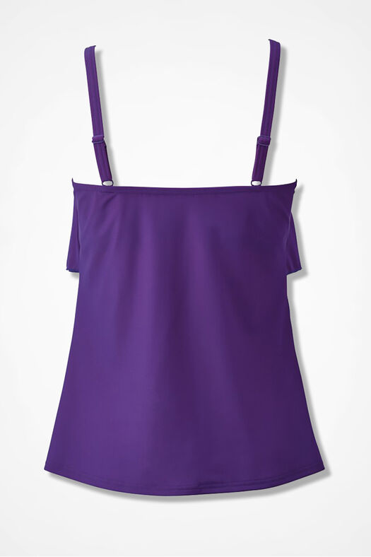 Solid Ruffled Tankini Top, Purple, large