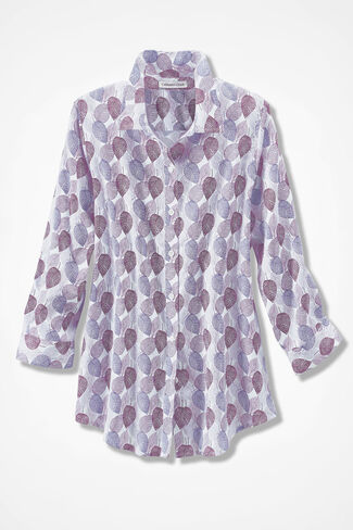 Sketched Leaves Easy Care Shirt, Plum Multi, large