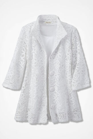 Gala Soutache Jacket, White, large