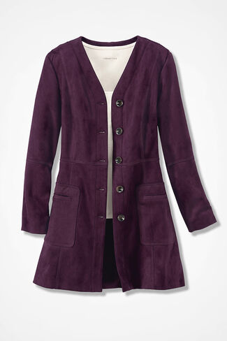 Spirit Faux Suede Jacket, Blackberry, large