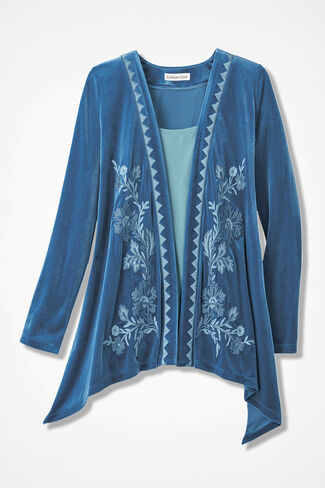 Opulence Embroidered Microvelvet Cardigan, Lapis, large