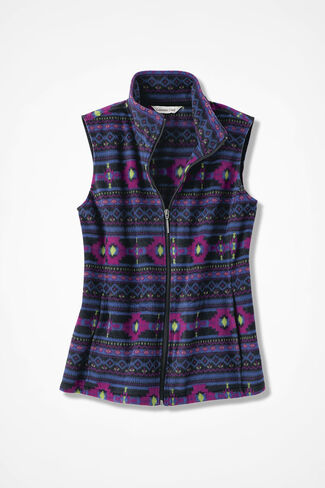 Great Outdoors Yuma Print Fleece Vest, Black Multi, large