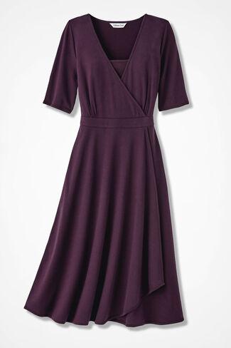 Timeless Faux Wrap Dress, Blackberry, large