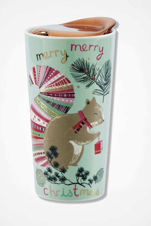 Holiday Ceramic Travel Mug, Light Blue, large