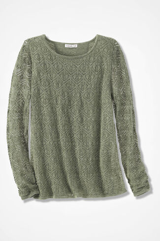 Diamond Pointelle Layered Sweater, Light Vine, large