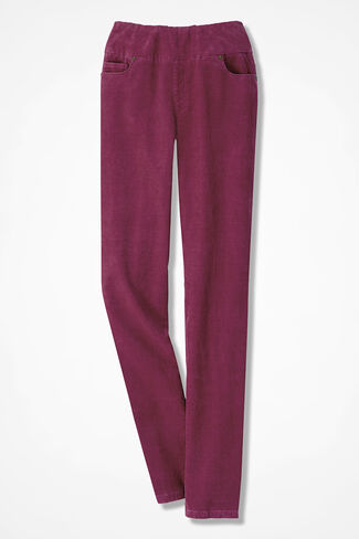 Pinwale Pull-On Stretch Corduroys, Garnet, large