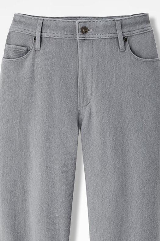 Knit Denim Straight-Leg Jeans, Pewter, large