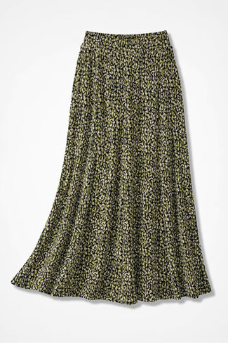 Destinations Geo-Print Gored Skirt, Avocado, large