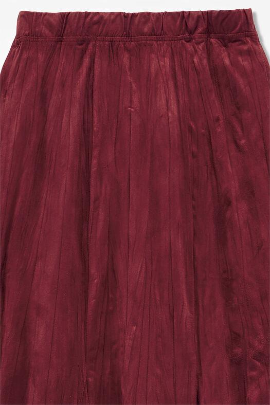 Faux Suede Crinkle Skirt, Brick, large