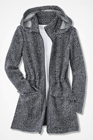 Town and Country Knit Anorak, Black/White, large