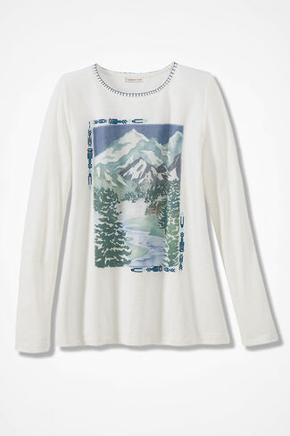 Winter Mountains Tee, Antique White, large