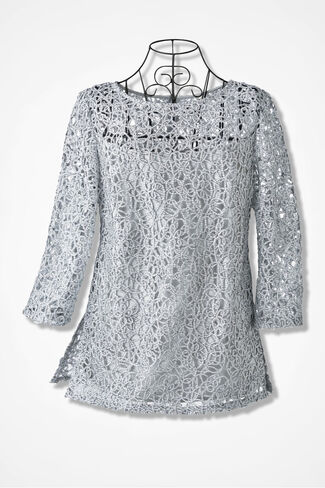 Textured Tunic by Alex Evenings, Silver, large