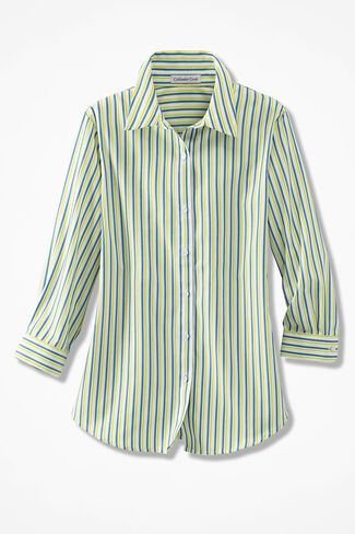 Simply Stripes Easy Care Shirt, Ivory/Citron, large