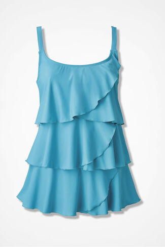Solid Ruffled Tankini Top, Island Turquoise, large