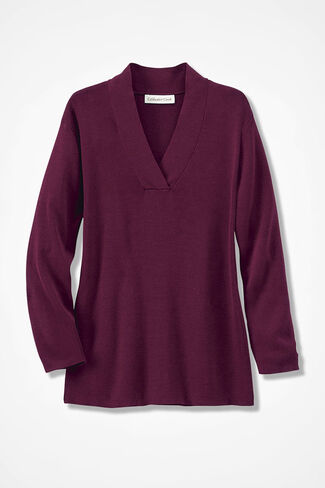 Transitions Crossover V-Neck Sweater, Wine, large
