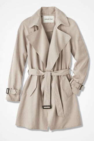 The Draped Trench Coat, Sand, large