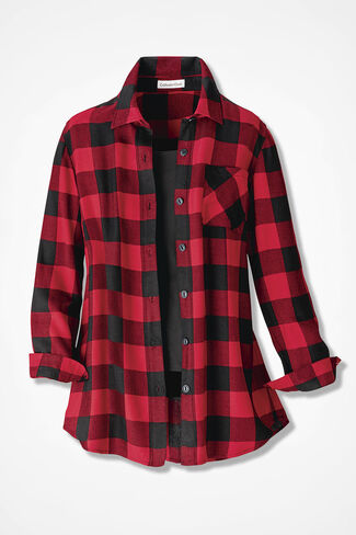Wyoming Ramble Check Tunic, Black/Red, large