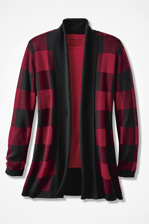 Buffalo Check Cardigan, Dover Red, large