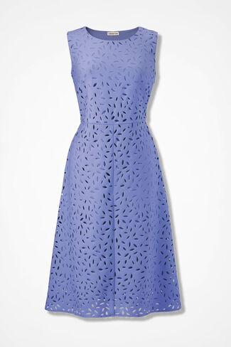 Peeking Petals Fit-and-Flare Dress, Perfect Peri, large