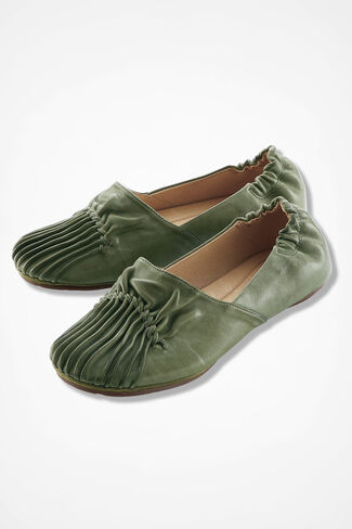 Pintuck Leather Flats, Loden, large