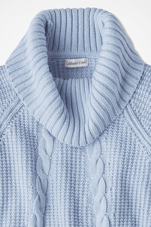 Soft-and-Mellow Cabled Cowlneck, Blue Mist, large