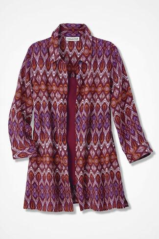 NEW Majolica Print Linen Big Shirt, Multi, large