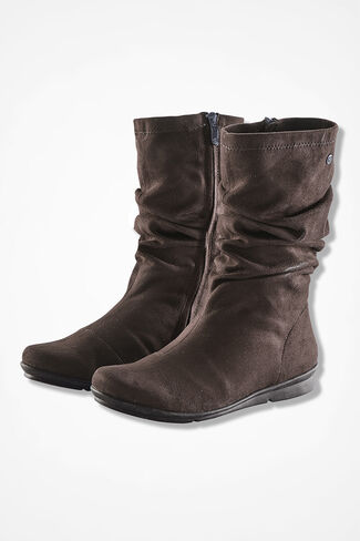"""""""Cage"""" Microfiber Boots by Bussola®, Brown, large"""
