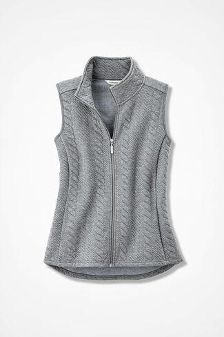 Curved-Hem Cabled Vest, Mid Heather Grey, large