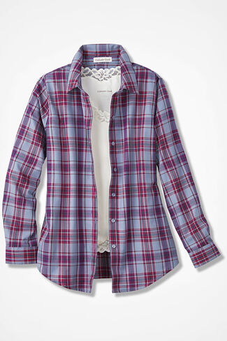 Sky Trails Plaid Easy Care Shirt, Dusty Blue, large
