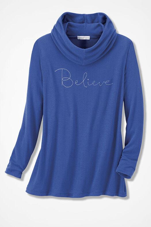 """""""Believe"""" Indulgence Knit Tunic, Iris Blue, large"""