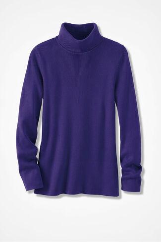 Ribbed Turtleneck Sweater, Amethyst, large