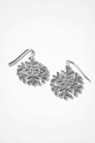 Sparkly Snowflake Earrings, Silver, large