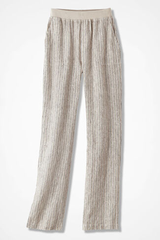 Pull-On Striped Linen Pants, Flax, large
