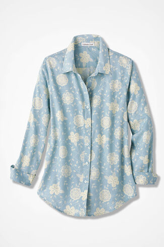 Lacy Blues Easy Care Shirt, Porcelain Blue, large