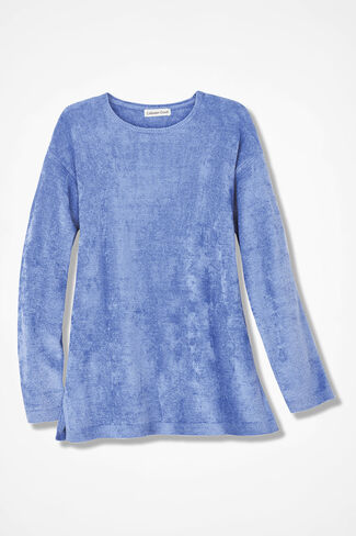 Chenille Tunic Sweater, Clear Periwinkle, large